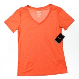 Nike Legend V-Neck Athletic T-Shirt Top Mango NWD